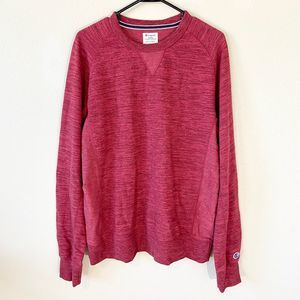 Mens Champion Sweater LARGE Red Crewneck Pullover